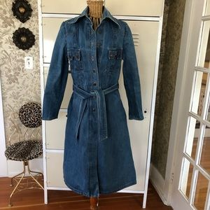 Vintage Denim Trench Coat Size M